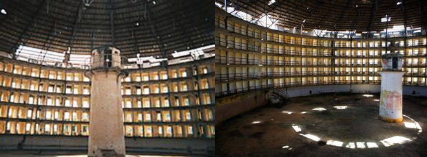 Some photos of Panopticon-inspired buildings. Note the similarity to lighthouses.